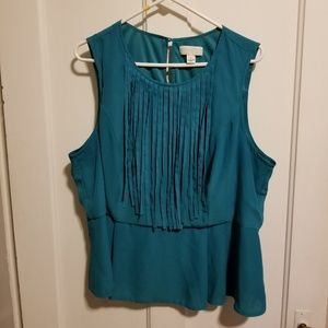 Teal colored fringe peplum shirt